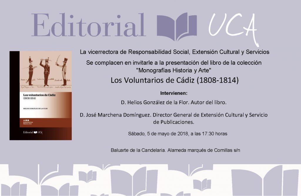 La Feria del Libro de Cádiz presenta Los Voluntarios de Cádiz (1808-1814). Un nuevo libro del Sello Editorial UCA
