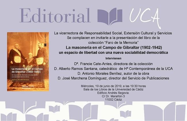 """Presentación de """"La masonería en el Campo de Gibraltar (1902-1942)"""", última novedad del Sello Editorial UCA"""