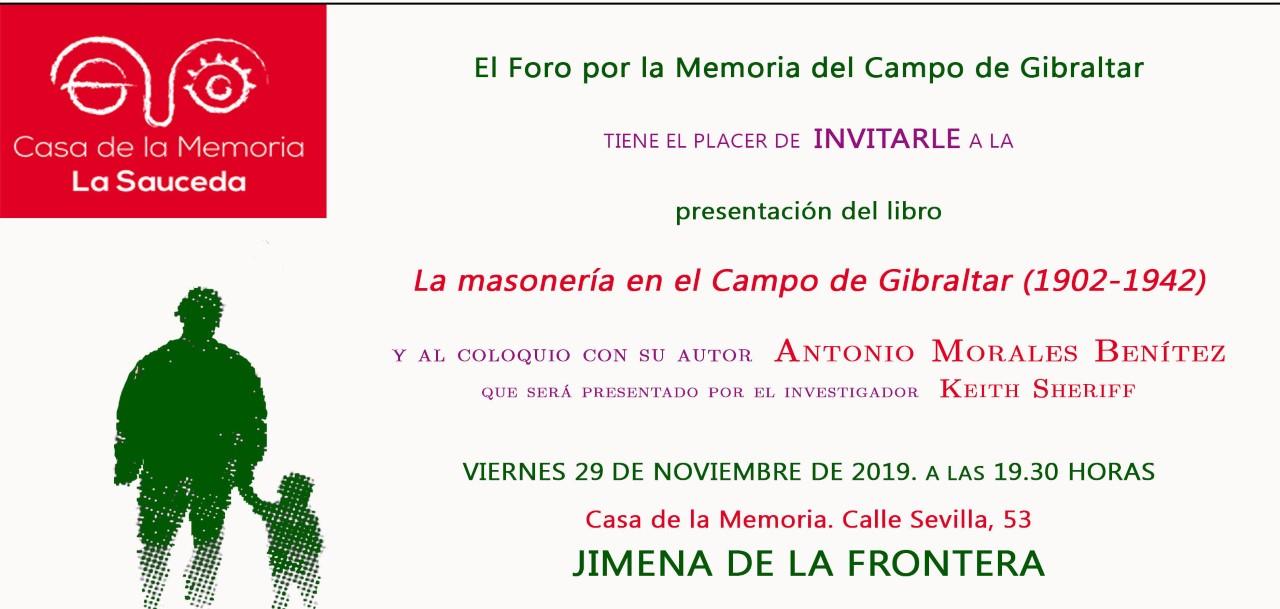Presentación del libro La masonería en el Campo de Gibraltar (1902-1942). Un espacio de libertad con una nueva sociabilidad democrática
